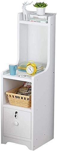 HTL - Archivadores útiles, mesita de noche, mesita de noche, muy estrecha, con cerradura, compartimento de capacidad, mesa auxiliar simple, de chapa gruesa, color blanco, 25 x 35 x 70 cm