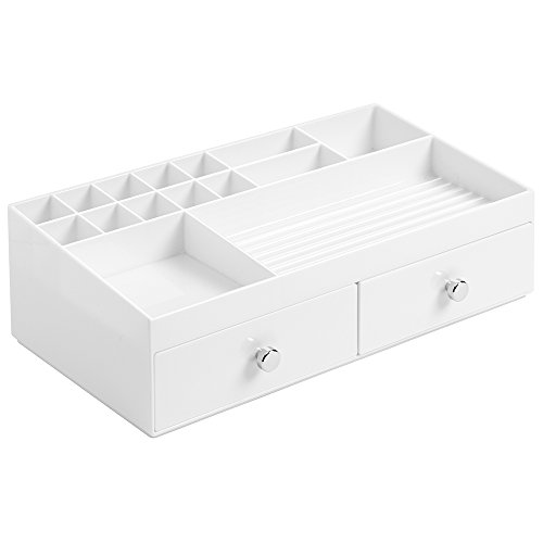 Price comparison product image InterDesign Drawers Jewellery Tray Organiser,  Cosmetic Organiser Drawer with 15 Compartments and 2 Drawers,  Plastic,  White