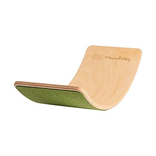 MEOWBABY Balance Board Balancierbrett aus Holz 80x30 cm Wackelbrett Filz für Kinder Gleichgewicht Spielzeug für Baby Kurviges Board Montessori