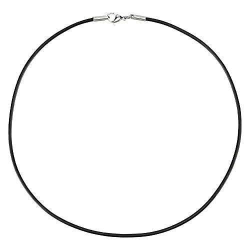 AURORIS Echtleder Kette schwarz Dicke 2mm mit Karabinerverschluss ohne Verbindungsring aus Edelstahl / Länge: 50cm