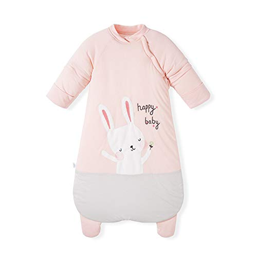 ZZJCY Winter Kinder Schlafsack Babyschlafsack Mit Feet 2.5 Tog Anti Kick Cotton Schlafsack Mit Abnehmbaren Ärmeln Für Jungen Und Mädchen Kaninchenmuster,0 to 8 Months