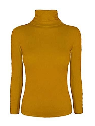 WearAll Damen Pullover mit Polo-Kragen, langärmelig, Gr. 36-42 Gr. 42-44, senffarben