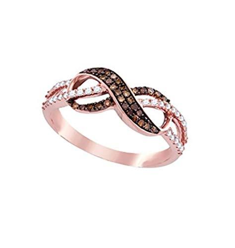 Infinity Brandy Diamonds Chocolate Brown 14k Rose Gold Beautiful Lovely Ring 1/3 Ctw.