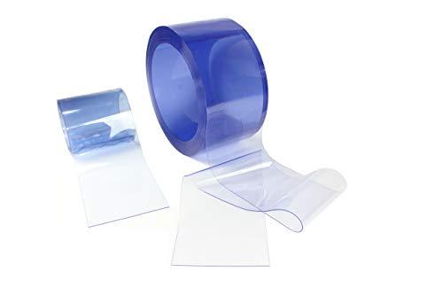 PVC Streifen Meterware 300 x 3mm transparent- Zugeschnitten auf Ihren Bedarf - in Blau Transparenz für einen Streifenvorhang, Lamellenvorhang, Industrievorhang