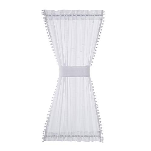 "White French Door Curtain Pom Poms Decorative Short Front Door Window Curtain Panel 52"" w x 40"" L 1pc"