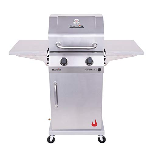 Char-Broil 463660421 Performance 2-Burner Cabinet Style Liquid Propane Gas Grill, Stainless Steel