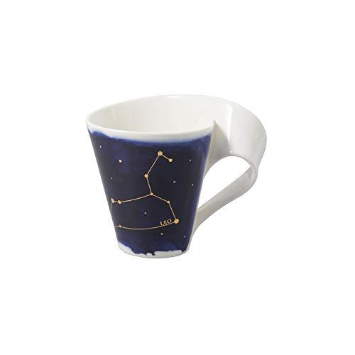 Villeroy & Boch - NewWave Stars Becher mit Henkel, formschöne Tasse mit Löwe-Motiv, Premium Porzellan, spülmaschinengeeignet, weiß/blau, 300 ml