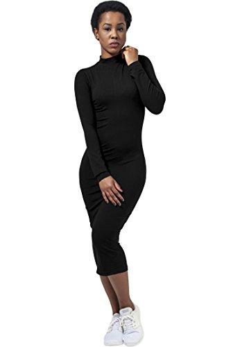 Urban Classics TB1296 Damen Kleid Ladies Turtleneck L/S Dress, Midi, Gr. 36 (Herstellergröße: S), Schwarz (black 7)