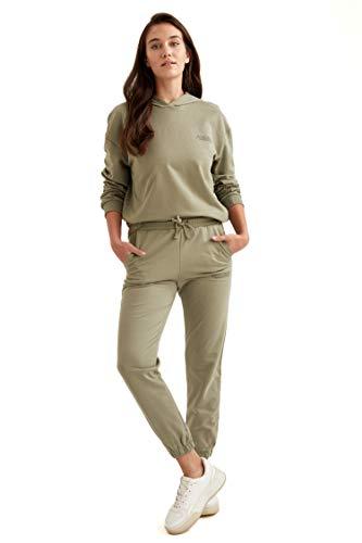 DeFacto Pantaloni da jogging da donna, Regular Fit, pantaloni da jogging per donne, per il tempo libero cachi S