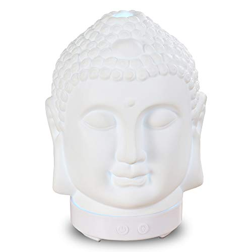 Smiling Buddha Essential Oil Aroma Diffuser, 100ml Ceramic Aromatherapy Diffuser Ultrasonic Cool Mist Mini Humidifier 7 Colors Changing Light For Yoga Meditation Office (White Base)