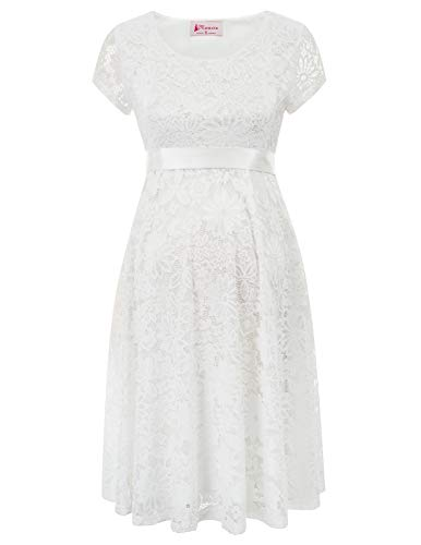 Maacie Premama Elegant White Lactation Lace Dress S