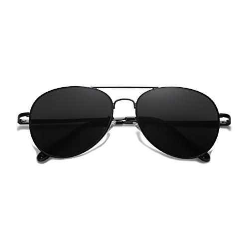 SOJOS Mode Metallrahmen Verspiegelt Linse Herren Damen Sonnenbrille mit Frühlings Scharnieren SJ1030 mit Schwarz Rahmen/Grau Linse