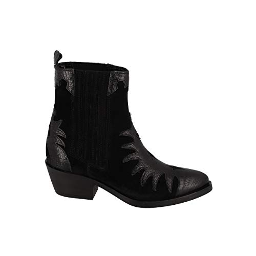 DEI COLLI Boots Chelsea Zeichnung mit Kroko-Effekt, Schwarz - Schwarz - Größe: 37 EU