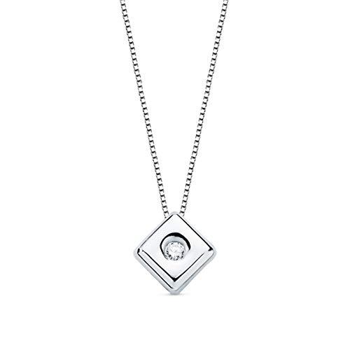 Alda Joyeros Gargantilla con Diamante Oro Blanco 18K Collar Chatón Rombo Brillante 0,020 CT. Cadena Veneciana. Punto de Luz