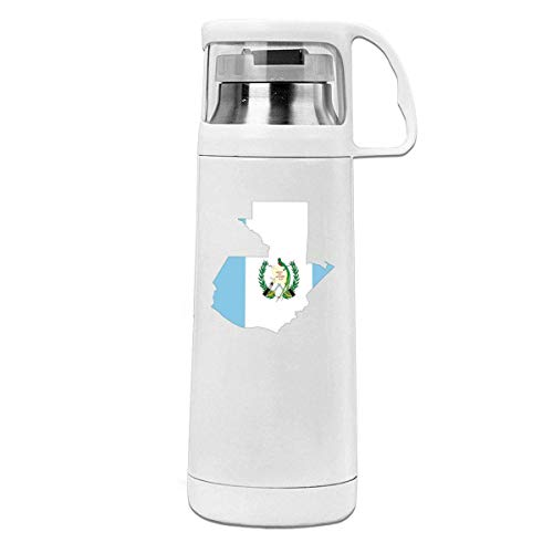 Bestqe Termo,Botella de agua,Tazas térmicas Guatemala Flag Map Insulated Stainless Steel Thermos Cup Portable Water Bottle with Handle Vacuum Tea Cup Travel Mug