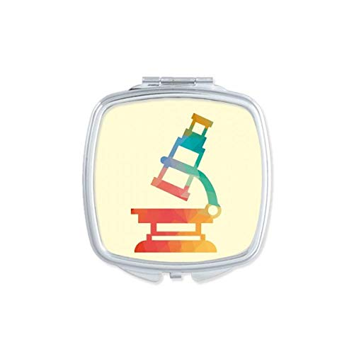 Cartoon Microscope Chemie Patroon Vierkant Compact Make-up Spiegel Draagbare Leuke Hand Pocket Spiegels Gift