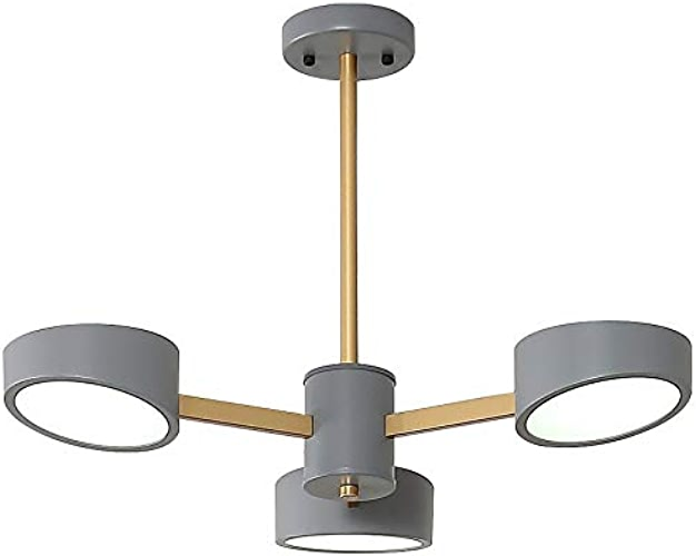 TonHan 9013D Plafonnier LED avec télécomhommede Couleur de la lumière réglable Acrylique Tube A+ Lampe de salon, 9013d, 9013D-3-gris, LED 220.00volts