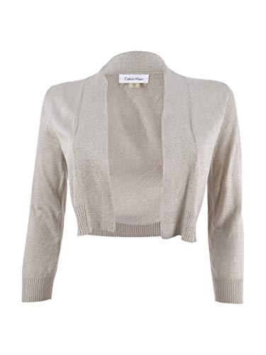 Calvin Klein Women's Shrug, Gold Lurex Knit, Medium