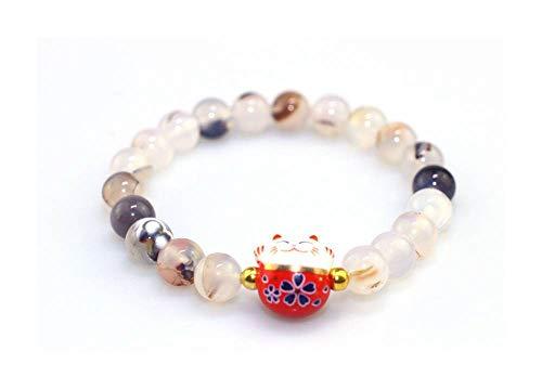 Japanisches Armband Glücksbringer Maneki Neko, weiße Naturperlen, Aderung, Tigerauge (18 cm dehnbar für Handdurchführung) + Geschenk 1 Magnet Maneki Neko