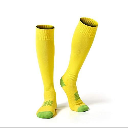 Men Soccer Socks Skidproof Women Long Sports Socks Cushion Performance Non-Slip Youth Football Socks- Best Medical, Nursing,Travel & Flight Socks-Running & Fitness(Two Pairs),Gold