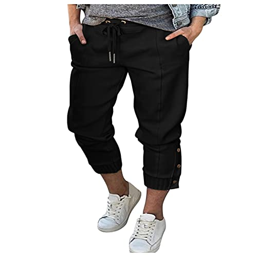 Pantalones Casuales de Color Sólido para Mujer con Cordón y Bolsillos Pantalón Deportivos con Botones Casuales de Verano y Otoño Moda Delgada