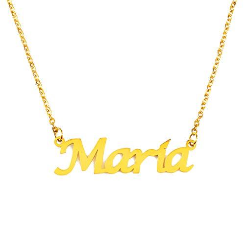 Kigu Maria Collar con Nombre - Chapado en Oro Personalizado de 18 Quilates - Cadena Ajustable