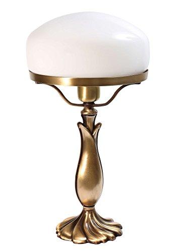 Exklusive Tischleuchte Pilzlampe Messing Fuß bronziert Weißer Glas E27 bis 60W Tischlampe im Banker-Stil Pilzleuchte Jugendstil Pils Nachttischlampe Tischlampe