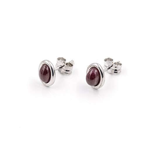Silver & Steel - Pendientes de plata ovalados con rubíes talla cabuchón - C/002-R