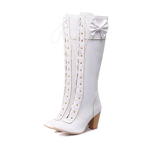 JIEEME Z1801 Moda de mujer, tacón central, tacón central, nudo informal, tacón largo, color Blanco, talla 41.5 EU