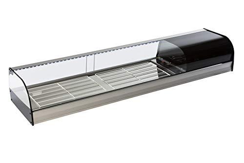 Vetrina refrigerata da banco bar per tapas - Gruppo incorporato, Illuminazione LED, Vetro curvo, 2 griglie, Grigio Argento - Espositore Refrigerato professionale - 1216 x 410 x 250 mm