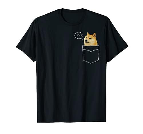 柴犬 Tシャツ ポケット ダッジ ワウ ダンク ピクセル キュート ドッグ Tシャツ Tシャツ