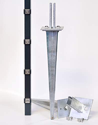 Zaun-Nagel Justierbare Bodenhülsen zum Einschlagen für Doppelstabpfosten 60/40mm, Länge 750 mm
