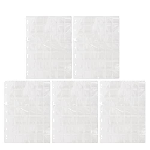 HEALLILY 5 Piezas de Plástico Porta Monedas Páginas 42 Bolsillos Fundas para Monedas Hojas para Almacenamiento de Monedas Colección de Dinero Álbum Caja Sellos Carpeta Insertos para