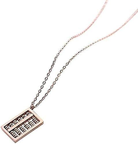 ZHIFUBA Co.,Ltd Collar Wishful Abacus Collar Colgante Cadena de clavícula de Acero de Titanio Cadena de Oro Rosa Corto Simple 40 + 5Cm Amo su Regalo