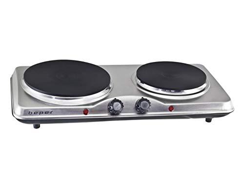 Beper 90.825 elektrische dubbele kookplaat, 1000 W, zilver