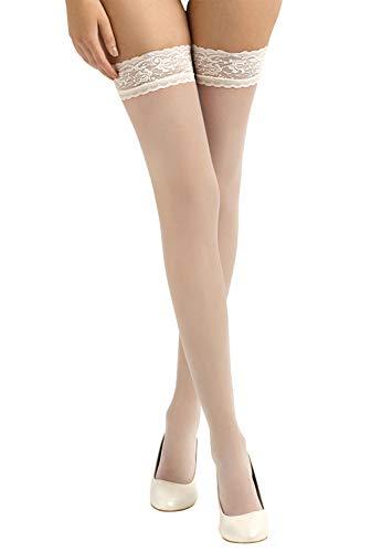 BrautChic® Halterlose Brautstrümpfe mit Spitze- Elegante Stay Up Strümpfe speziell für die Hochzeit- Luxuriös Transparent, Elastische Spitze 8cm - pH-neutraler Silikonstreifen- HAUT/Ivory Spitze- Gr.L