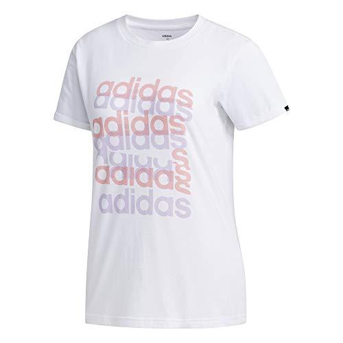 adidas W Big GFX T Maglietta da Donna, Donna, Maglietta, FM6150, Bianco/Matpur, S