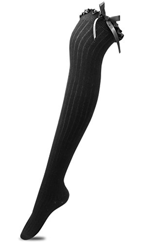 Women's Girls Thigh High Stockings Over the Knee Socks with Satin Bows(Black,One Size)