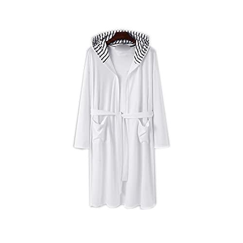 Bathrobe - Albornoz para hombre, manga larga, con capucha, bolsillos informales y cómodos con cordones de noche 5XL blanco X-Large