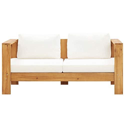 pedkit Gartensofa mit Kissen 2-Sitzer Wetterbeständig Sofa Gartenbank Gartenmöbel Lounge Sitzbank 140 x 65 x 60 cm Akazien Massivholz Cremeweiß