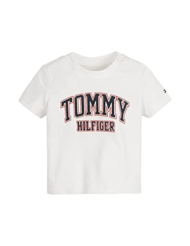 Tommy Hilfiger - Camiseta DE Manga Corta con Logo KN0KN01272 YBR EN Color Blanco- Camiseta para BEBÉ (18 Meses)