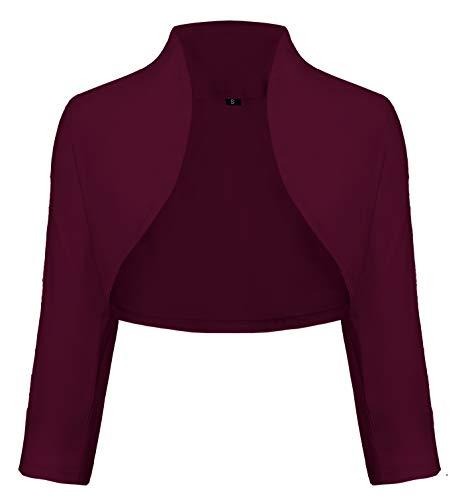 TrendiMax Damen Eleganter Bolero Jacke Schulterjacke Kurzes Jäckchen 3/4 Ärmel,Bordeaux,XL