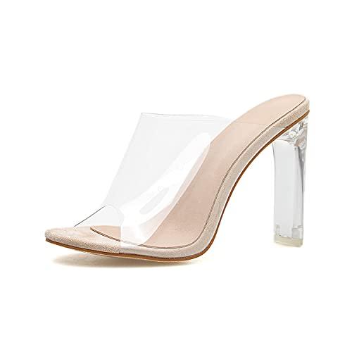 WLQWER Sandalias de tacón Alto con Bloque de tacón Transparente para Mujer y Sandalias de Punta Abierta para Mujer, Zapatillas, Vestido de Bomba, Zapatos de Fiesta de metacrilato,Apricot,42