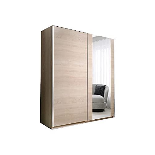Kleiderschrank Schwebetürenschrank mit Spiegel 2-türig Schrank mit Einlegeböden und Kleiderstange Gaderobe Schiebtüren BxHxT 120x200x55 PAXO 120 Sonoma