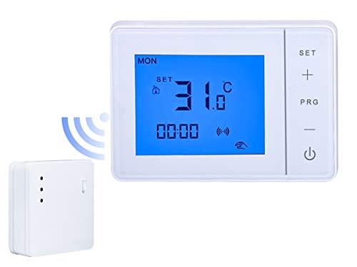 LEDLUX LL0255 Thermostat sans fil RF Chronothermostat numérique hebdomadaire tactile pour chaudière à gaz et chauffage radiateur à eau 3 A 220 V