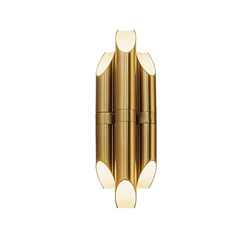 YXLMAONY Aplique de Pared Dorado, lámpara de Pared Moderna con Tres LED de Hierro, Pantalla de Metal, lámparas de Sal de cabecera para Pared de TV, Hotel, Dormitorio, Sala de Estar