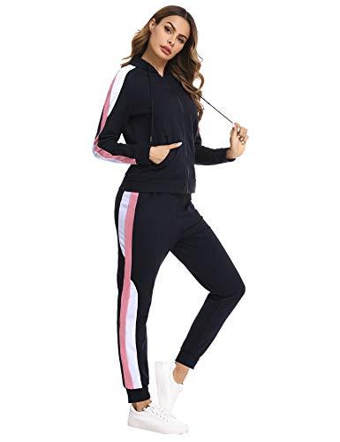 Hawiton Jogginganzug Damen Freizeitanzug Baumwolle Sportanzug Frauen Trainingsanzug mit Streifen Taschen Fitnessanzug für Running Yoga Gym Wandern, Farbe: Dunkelblau, Gr.XL