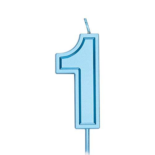 LUTER 7cm Azul Velas De Pastel De Cumpleaños Velas De Número Vela De Cumpleaños Adorno De Pastel Decoración para Fiestas Niños Adultos (Número 1)