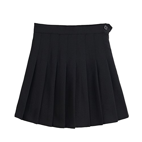 TINKSKY Short Pleated Skirt High Waist Skater Skirt for Women Girls - M (Black)