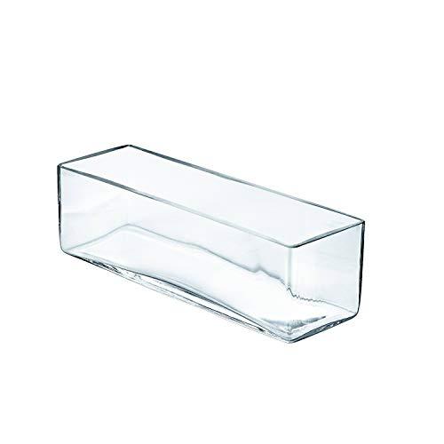 INNA-Glas Vaso Rettangolare Jack in Vetro, Trasparente, 40x12x12cm - Ciotola per Alimenti/Vaso Decorativo